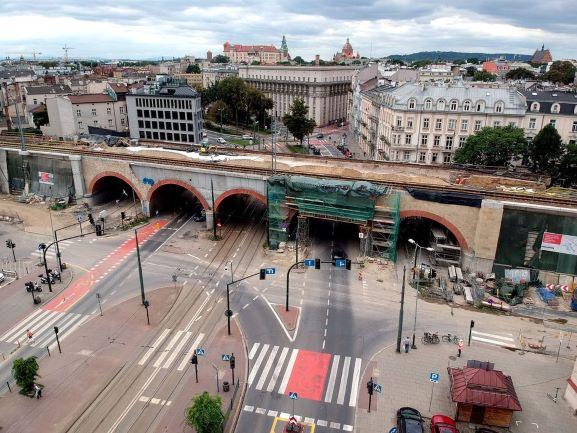 Budowa estakad kolejowych w centrum Krakowa