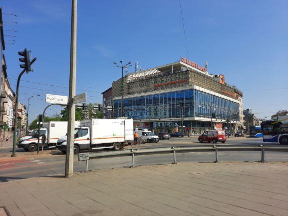 Naprawa torów tramwajowych na skrzyżowaniu Alei Trzech Wieszczów i ul. Kościuszki