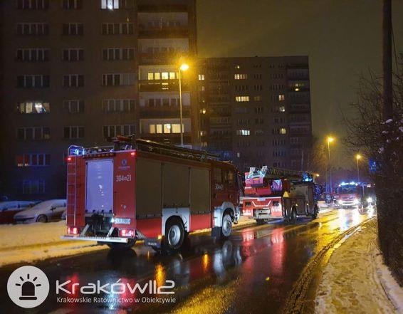 Pożar windy w bloku przy Bieżanowskiej