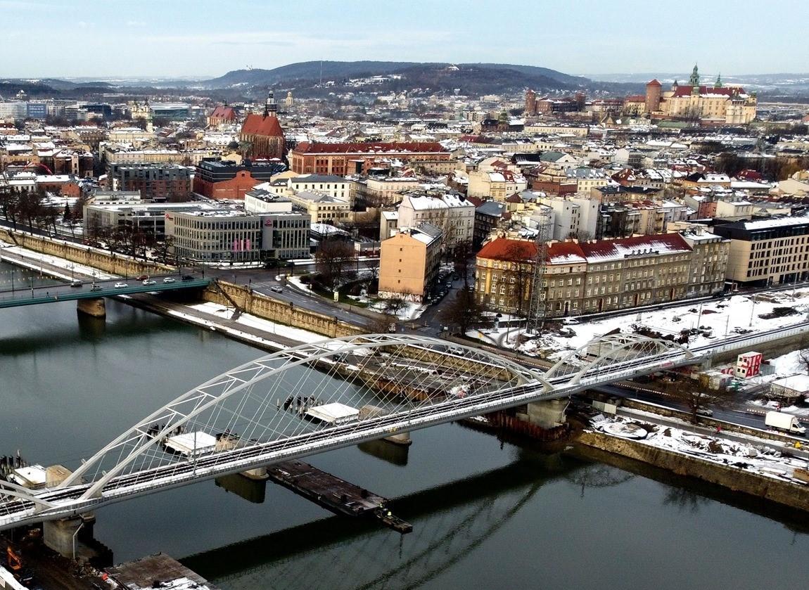 Budowa mostu kolejowego nad Wisłą. Zmiany na ul. Podgórskiej, zamknięty bulwar Kurlandzki